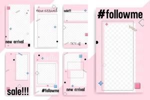 trendiga rosa och memphis element sociala mediemall