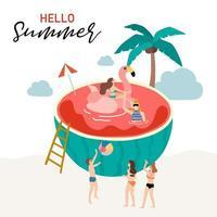 Sommerdesign mit Menschen, die in Wassermelone schwimmen