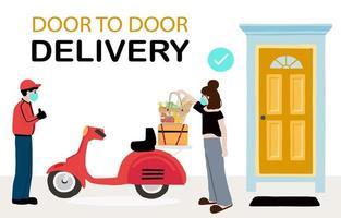 online leverans kontaktlös service till hemmadesign vektor
