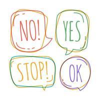 Gekritzel-Sprechblasen mit Nein, hör auf, ok, ja