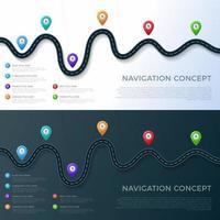 Infografikschablone für Fahrbahnstandort mit Stiftzeigern