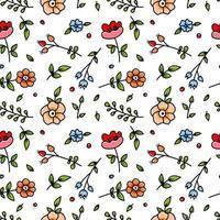 färgglada tecknade blommor sömlösa mönster