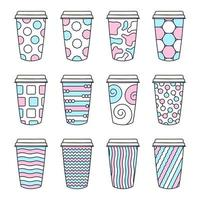 uppsättning av 12 mönstrade kaffekoppar med lock vektor