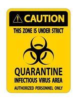 Vorsicht Quarantäne infektiösen Virus Bereich Zeichen