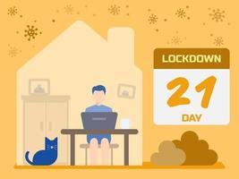 lockdown-koncept med mannen som arbetar hemifrån