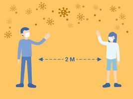 Menschen, die Abstand zum Krankheitsrisiko von Viren halten vektor
