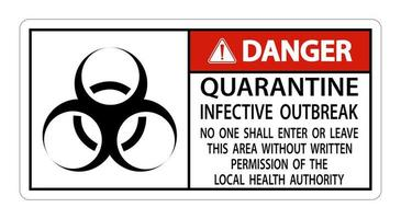 Gefahr Quarantäne infektiösen Ausbruch Zeichen vektor