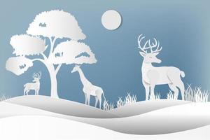 Hirsche und Giraffen im Wald