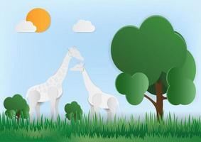 giraffer i grön skog vektor