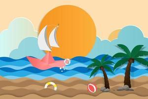 båt seglar på havet på sommaren vektor