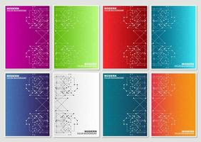 abstrakta tekniska linjer färgglada täcker uppsättning vektor