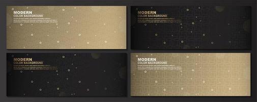 geometriska guld, svarta banners set vektor