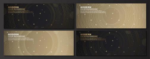 geometriska cirklar guld och svarta banners set vektor