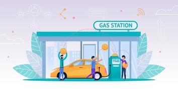 folk tankar bilen på bensinstationen vektor
