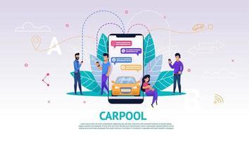 carpool mobilapplikation på telefonskärmen vektor