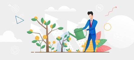 Mann im Anzug gießt Geldbaum