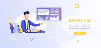 Mann mit Zeiger und Online-Business-Blog