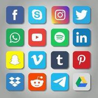 rundade fyrkantiga sociala medier Ikonuppsättning