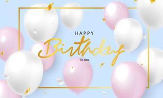 födelsedagsdesign med rosa och vita ballonger vektor