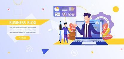 man tittar på en online-affärsblogg vektor