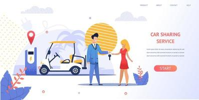 flicka som hyr en elektrisk strandbil