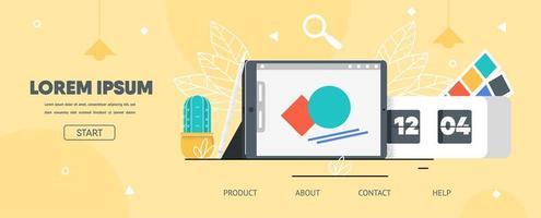 Landing Page Flat Layout für Grafikdesigner App