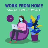 flicka i stol arbetar hemifrån