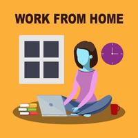 flicka sitter på golvet arbetar på bärbar dator