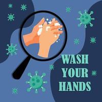 Waschen Sie Ihre Hände, um sich vor Virenplakaten zu schützen vektor