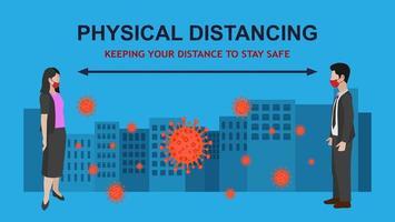 Mann und Frau körperliche Distanz in der Stadt