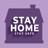 stanna hemma bo säker affisch med hus silhuett