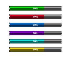verschiedene Farben des Fortschrittsbalkens für das Laden der Batterie