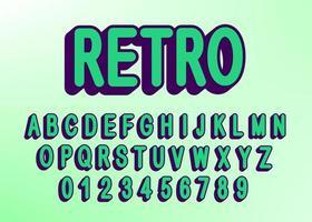 Retro-Alphabet-Schriftart mit Buchstaben und Zahlen