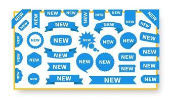 neue Aufkleber und Etiketten gesetzt vektor