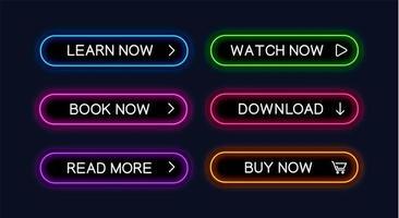 uppsättning av neon beskrivna webbknappar