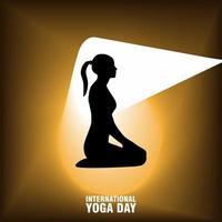 internationales Yoga-Tagesplakat mit Silhouette der Frau vektor