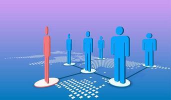 röda, blå människor ikon framgångsrik ledare vektor