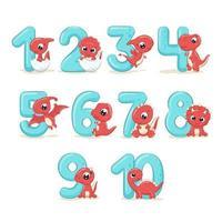 uppsättning färgnummer med baby dinosaurier.