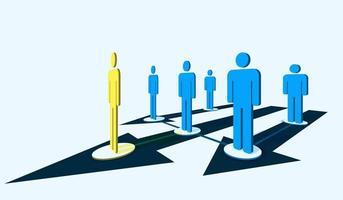 gula, blå människor ikoner ledarskap koncept vektor