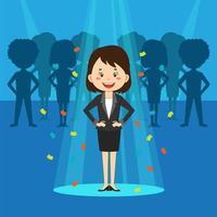 modern talangsökande affärskvinna i rampljuset