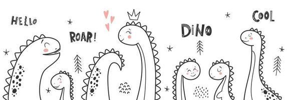 Baby-Druck mit Dino und Satz Dino-Mädchen, brüllen, hallo. vektor