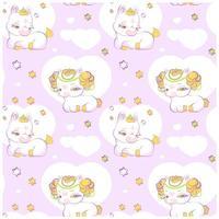 süße kleine Prinzessin Einhörner rosa nahtloses Muster