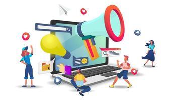 kundsupport och forskningskoncept online vektor