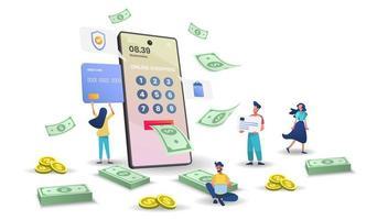 betalning online på mobiltelefon koncept vektor