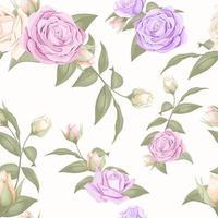 nahtloses Musterdesign der rosa und lila Rose vektor