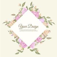 elegante Roseneinladungsschablone mit Diamantrahmenform vektor