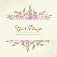 vacker ros bröllop mall design vektor