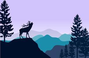 Silhouette von Hirschen und Kiefern