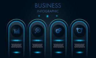 Geschäftsinfografik mit blauem Neonlicht und Symbolen
