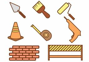 Bricklayer icon set